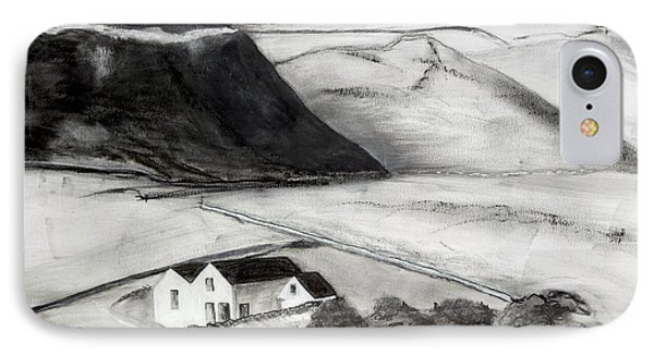 Black And White House And Hills IPhone Case