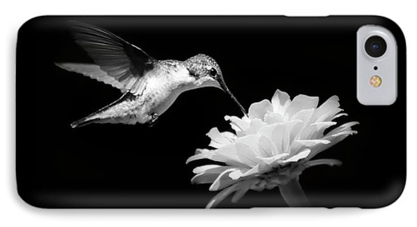IPhone 7 Case featuring the photograph Black And White Hummingbird And Flower by Christina Rollo