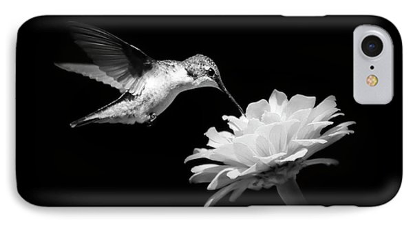 IPhone Case featuring the photograph Black And White Hummingbird And Flower by Christina Rollo