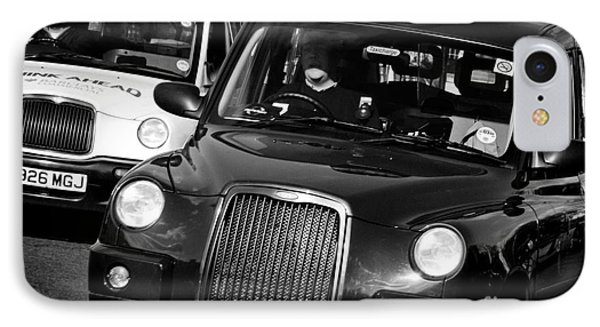 Black And White London Taxi Cabs Phone Case by Andy Smy