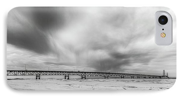 IPhone Case featuring the photograph Black And White Mackinac Bridge Winter by John McGraw