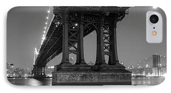 Black And White - Manhattan Bridge At Night IPhone Case by Gary Heller