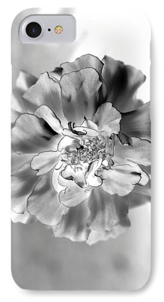Black And White Marigold IPhone Case by Christine Ricker Brandt