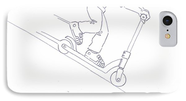 Black And White Micro Scooter Downhill Drawing IPhone Case