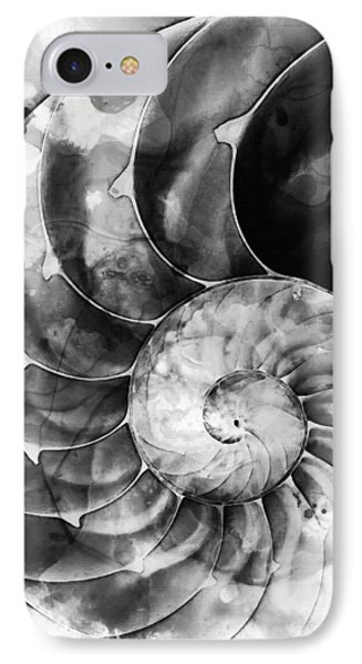 Black And White Nautilus Shell By Sharon Cummings IPhone Case by Sharon Cummings
