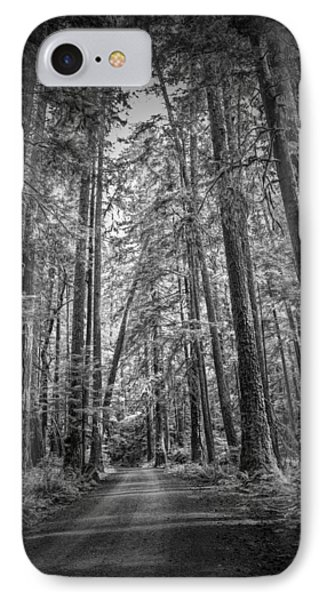 Black And White Of A Road In A Vancouver Island Rain Forest IPhone Case by Randall Nyhof