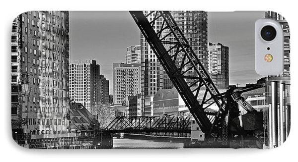 Black And White Of Reverse Angle Kinzie Street Bridge IPhone Case by Frozen in Time Fine Art Photography