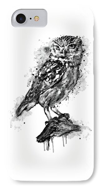 IPhone Case featuring the mixed media Black And White Owl by Marian Voicu