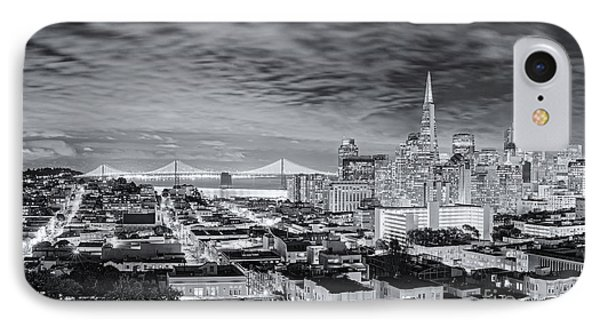 Black And White Panorama Of San Francisco Skyline And Oakland Bay Bridge From Ina Coolbrith Park  IPhone Case by Silvio Ligutti