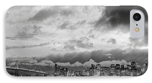 Black And White Panorama Of San Francisco Skyline And Oakland Bay Bridge From Treasure Island  IPhone Case