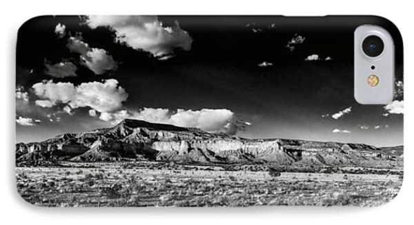 Black And White Panorama Of The Ghost Ranch Area A Tribute To The Master - Abiquiu New Mexico IPhone Case