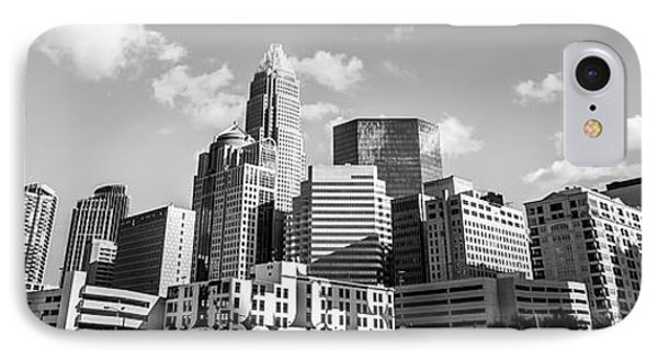 Black And White Panorama Photo Of Charlotte Skyline IPhone Case by Paul Velgos