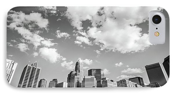 Black And White Photo Of Charlotte Skyline IPhone Case