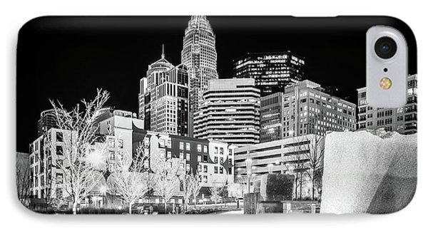 Black And White Photo Of The Charlotte Skyline IPhone Case