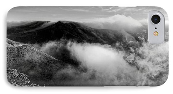 Black And White Photograph Of Fog Rising In The Marin Headlands - Sausalito Marin County California IPhone Case by Silvio Ligutti