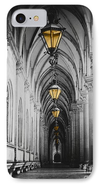 Black And White Picture Of City Hall Corridor With Lanterns And Pillars In Vienna Rathaus IPhone Case by Mirko Dabic