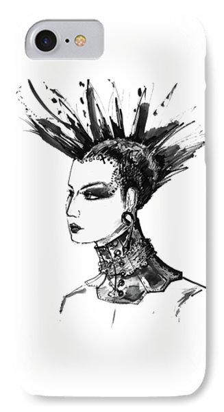 IPhone Case featuring the digital art Black And White Punk Rock Girl by Marian Voicu