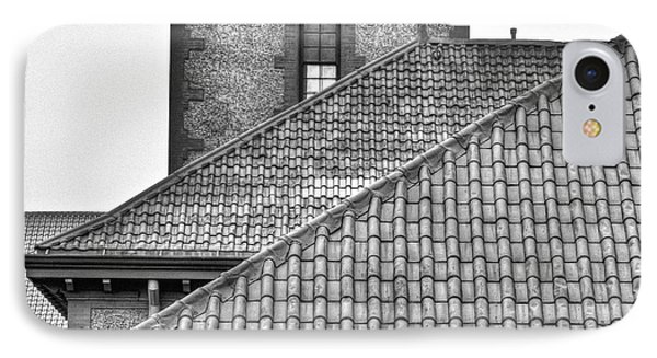 Black And White Rooflines IPhone Case by Jean Noren