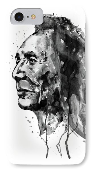 IPhone Case featuring the mixed media Black And White Sioux Warrior Watercolor by Marian Voicu