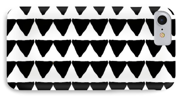 Simple iPhone 7 Case - Black And White Triangles- Art By Linda Woods by Linda Woods