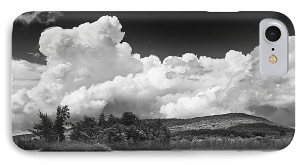 Black And White Vienna Maine Flying Pond With Storm Clouds Fine Art Print IPhone Case by Keith Webber Jr