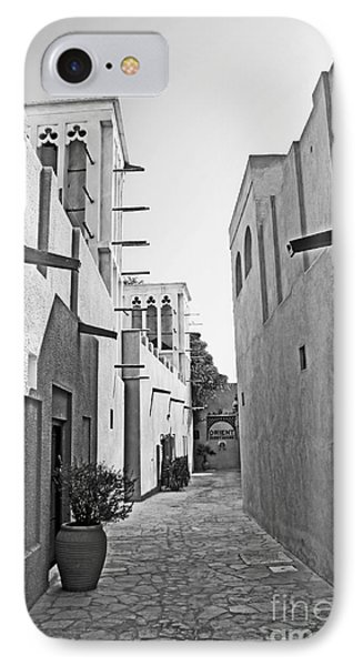 Black And Whitetraditional Middle Eastern Street In Dubai Phone Case by Chris Smith