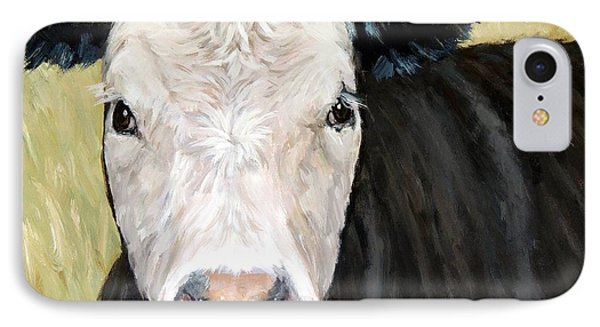 Black Angus Cow Steer White Face IPhone Case by Dottie Dracos