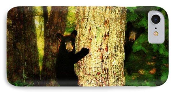 Black Bear Cubs Phone Case by Gray  Artus