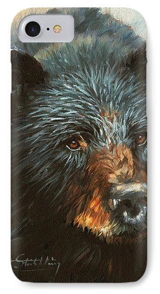 IPhone Case featuring the painting Black Bear by David Stribbling