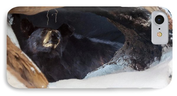 IPhone Case featuring the digital art Black Bear In Its Winter Den by Chris Flees