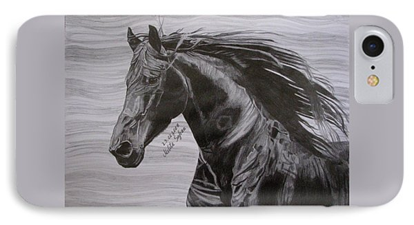 IPhone Case featuring the drawing Black Beauty by Melita Safran