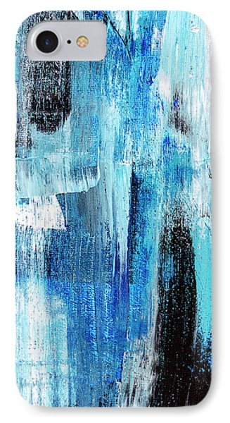 IPhone Case featuring the painting Black Blue Abstract Painting by Christina Rollo