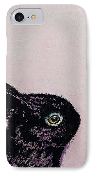 Black Bunny IPhone Case by Michael Creese
