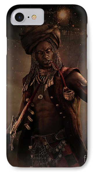 IPhone Case featuring the digital art Black Caesar Pirate by Shanina Conway