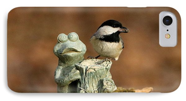 Black-capped Chickadee And Frog IPhone Case by Sheila Brown