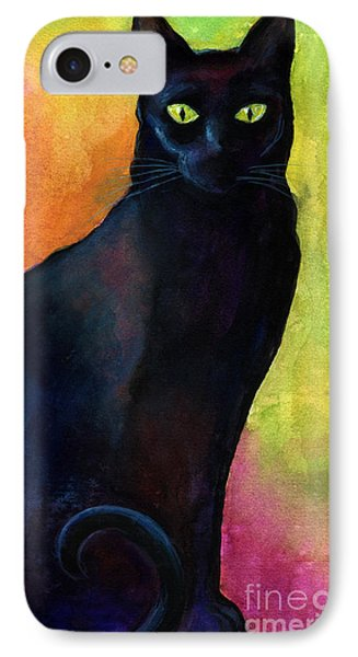 Black Cat 9 Watercolor Painting IPhone Case
