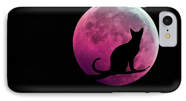Black Cat And Pink Full Moon IPhone Case