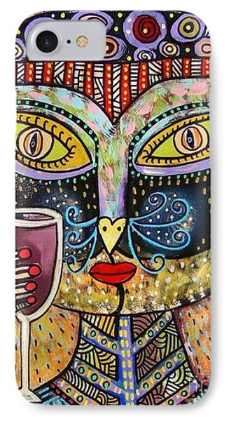 Black Cat Drinking Red Wine IPhone Case by Sandra Silberzweig