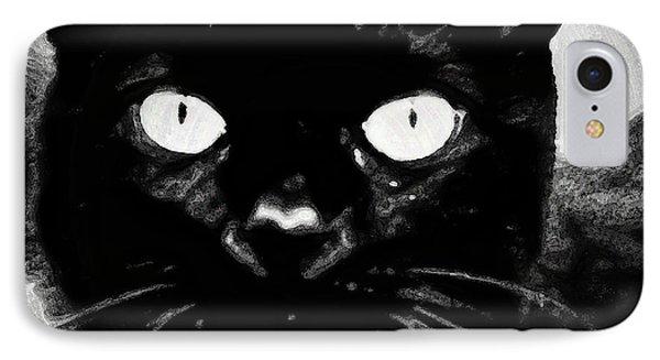 Black Cat IPhone Case by Gina O'Brien