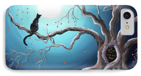 Black Cat In A Haunted Tree IPhone Case