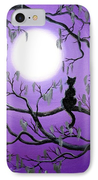 Black Cat In Mossy Tree IPhone Case