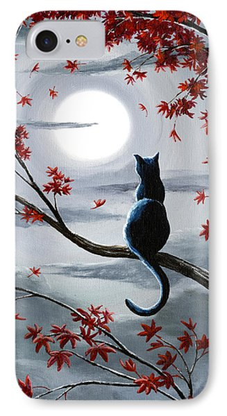 Black Cat In Silvery Moonlight IPhone Case by Laura Iverson