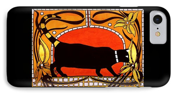 IPhone Case featuring the painting Black Cat With Floral Motif Of Art Nouveau By Dora Hathazi Mendes by Dora Hathazi Mendes