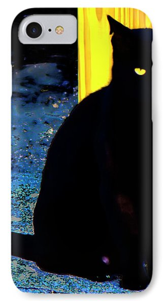 Black Cat Yellow Eyes IPhone Case by Gina O'Brien