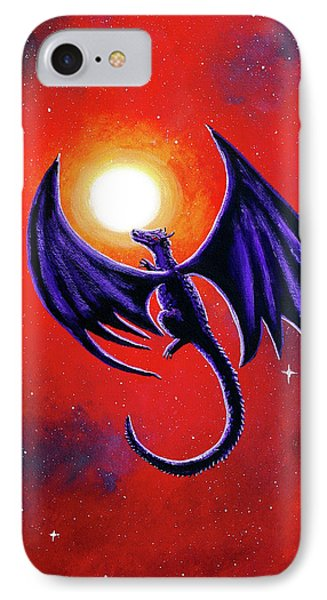 Black Dragon In A Red Sky IPhone Case by Laura Iverson