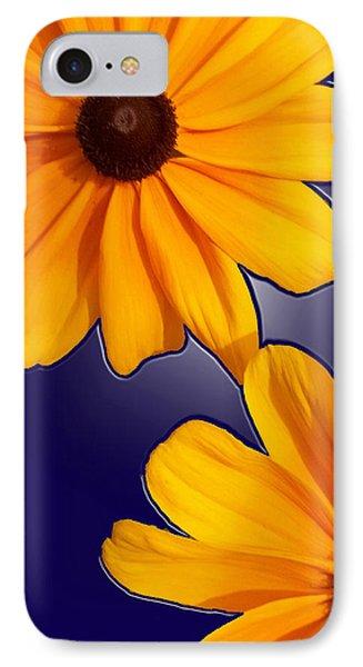 Black-eyed Susans On Blue Phone Case by Tara Hutton