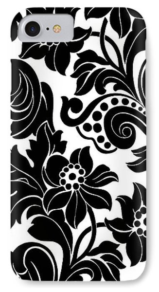 Black Floral Pattern On White With Dots IPhone 7 Case by Gillham Studios