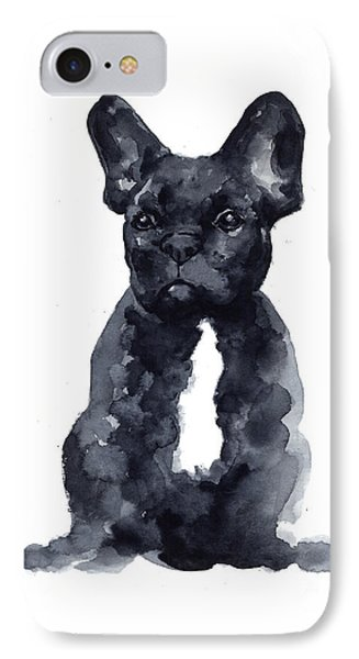 Bull iPhone 7 Case - Black French Bulldog Watercolor Poster by Joanna Szmerdt