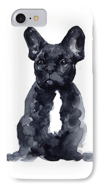 Black French Bulldog Watercolor Poster IPhone 7 Case by Joanna Szmerdt