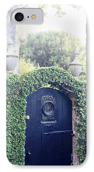 IPhone Case featuring the photograph Black Garden Door by Heather Green